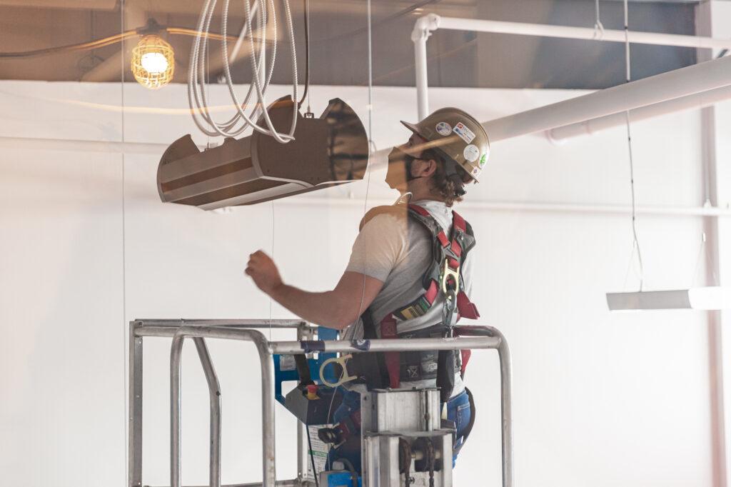 Installing a SaniLume upper room GUV fixture